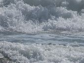 Background. Raging Sea Waves With Foam And Splashes. White And Blue Tones. poster