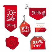picture of wax seal  - red big sale tags isolated over white background - JPG