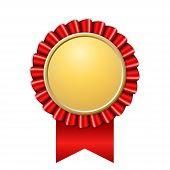 Award Ribbon Gold Icon. Golden Red Medal Design Isolated On White Background. Symbol Of Winner Celeb poster