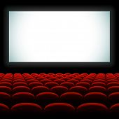picture of cinema auditorium  - Cinema auditorium with screen and seats - JPG