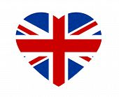 Grunge Flag Of Great Britain, Uk. Isolated English Banner With Scratched Texture In Shape Heart. Vec poster