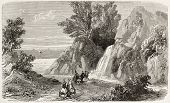Arethusa fountain old view, Ithaca island, Greece. Created by Provost, published on L'Illustration,