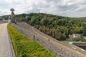 Gileppe Dam In Belgium With Pathway, Watch-tower And Monumental Lion poster