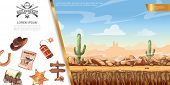 Cartoon Wild West Concept With Desert Landscape Cowboy Hat Dynamite Signboard Sheriff Badge Cart Hor poster