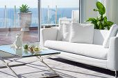 Interior Of The Living Room Of The Hotel. Beautiful Living Room With White Sofa. White Concept Livin poster