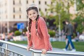 Little Cutie. Adorable Little Kid With Charming Smile On Summer Day. Little Child With Brunette Hair poster