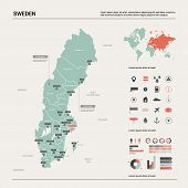 Vector Map Of Sweden. Country Map With Division, Cities And Capital Stockholm. Political Map,  World poster