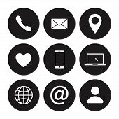 Set Of Contact Us Icon. Web Communication Icons Isolated. Mail Phone Location Website Account Intern poster