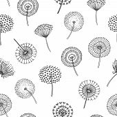 Dandelion Seamless Pattern. Dandelions Grass Pollen Plant Seeds Blowing Tranquil Wind Fluff Flower M poster