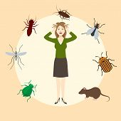 Madly Frightened Woman. Girl Afraid Of Pests. Cockroach, Mouse, Rat, Mosquito, Fly, Bugs In A Circle poster