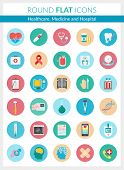 Set Of Modern Flat Icons Of Healthcare Diagnosis And Treatment, Medical Equipment And Supplies, Onli poster
