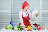 Woman Chef Cooking Food. Culinary Concept. Amateur Cook Read Book Recipes. Girl Learn Recipe. Book B poster
