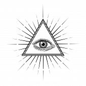 Vintage Engraving Style Eye Of Providence Or All Seeing Eye Inside Triangle Pyramid. Religion, Spiri poster