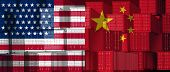 China Us Trade Business Concept As A Chinese Usa Tariff War And American Tariffs As Two Opposing Gro poster