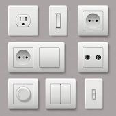 Wall Switch. Power Electrical Socket Electricity Turn Of And On Plug Vector Realistic Pictures. Elec poster