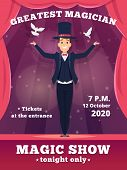 Magic Poster Invitation. Circus Magician Show Placards Vector Template Red Curtains Shows Of Wizard  poster
