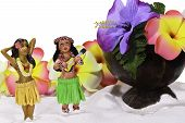 stock photo of hula dancer  - Two tiny hula girl models dancing on the sand next to a coconut cup and colorful flowers isolated on white background and white sand in the front - JPG