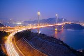 stock photo of tsing ma bridge  - Tsing Ma Bridge in Hong Kong at night - JPG