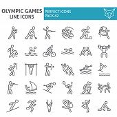 Olympic Games Line Icon Set, Sport Symbols Collection, Vector Sketches, Logo Illustrations, Sportsma poster