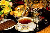 Tea Party - Vintage Samovar, Sweet Dessert Cookies, Fragrant Confectionery Chocolate.  Samovar -- Cr poster