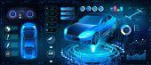 Car Auto Service, Modern Design Hud, Diagnostic Auto Infographic. Futuristic User Interface. Virtual poster
