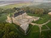 Aerial View To Famous Ukranian Sightseeing Old Ruined Palace In Pidhirci Was Build By Stanislav Koni poster