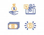 Payment, Travel Loan And Income Money Icons Simple Set. Bitcoin System Sign. Finance, Trip Discount, poster