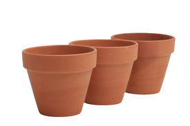 foto of flower pot  - three terracotta clay pots on a white background - JPG