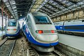 PARIS , FRANCE - JULY 7 : TGV high speed french train in gare de Lyon station on July 7 , 2006 in Pa