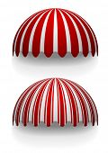 stock photo of canopy roof  - detailed illustration of round striped awnings - JPG