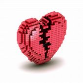 stock photo of orthogonal  - Conceptual symbol of broken orthogonal heart from boxes - JPG