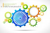 image of ashok  - illustration of cog wheel in Indian tricolor with Ashok Chakra - JPG