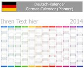 2014 German Planner Calendar With Vertical Months