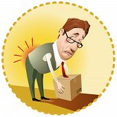 picture of animated cartoon  - Man lifting a box incorrectly.