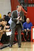 JAMAICA, NY-JAN 2: St. John's Red Storm head coach Joe Tartamella reacts on the sidelines against th