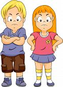 stock photo of pissed off  - Illustration of a Boy with His Arms Crossed and a Girl with Her Arms on Her Waist - JPG