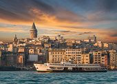 pic of constantinople  - View from Istanbul with Galata Tower and the ferry - JPG