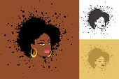 foto of rap-girl  - Sexy lady with abstract Afro hairstyle - JPG
