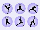 stock photo of yoga silhouette  - Different yoga poses in silhouette to represent meditation - JPG