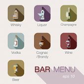 stock photo of alcoholic beverage  - Bar alcohol drinks vector icons menu design template. Cafe beverages concept. Button collection for web and apps. Contains: whisky, liquor, champagne, vodka, cognac, brandy, wine, whiskey, beer. - JPG