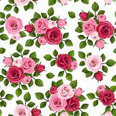 image of english rose  - Vector seamless pattern with red and pink roses - JPG