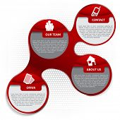 Red abstract vector infographic background with icons for company brochure, flyer, poster or website