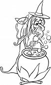 picture of mixture  - Black and White Cartoon Illustration of Funny Fantasy or Halloween Witch with Black Cat Cooking a Magic Mixture for Children to Coloring Book - JPG