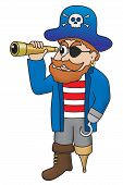 image of peg-leg  - Cartoon illustration of a comical pirate looking through a spyglass - JPG