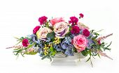 stock photo of carnation  - Bouquet of rose hydrangea berry and carnation flowers in ceramic pot - JPG