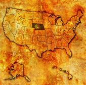 stock photo of nebraska  - nebraska on old vintage map of usa with state borders - JPG
