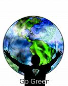 foto of stewardship  - The silhouette of an environmentalist embracing the world - JPG