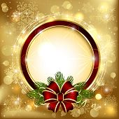 image of bowing  - Christmas decoration on a golden background with bow and branches of the Christmas tree - JPG