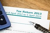 picture of self assessment  - Close up of UK Income tax return form with tax period for 2013 - JPG