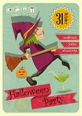 stock photo of halloween characters  - Retro Halloween Party Invitation with Witch in Vintage Style - JPG